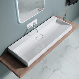 Lavabo suspendu vasque /à poser anthracite mat 80cm x 38cm x 11cm /évier Sogood Colossum 19-800 rectangulaire avec rev/êtement Nano