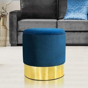 POUF - POIRE Pouf en velours bleu et doré