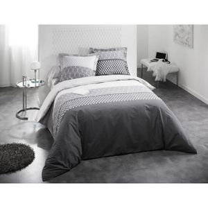 parure de lit gris et blanc achat vente parure de lit. Black Bedroom Furniture Sets. Home Design Ideas
