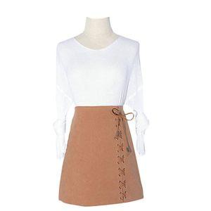 JUPE Haute jupe velours suédine taille avec jupe Kaki