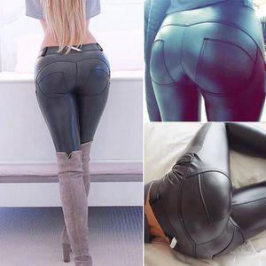 PANTALON Femmes SOLIDES en cuir noir Pantalon Slim Casual P