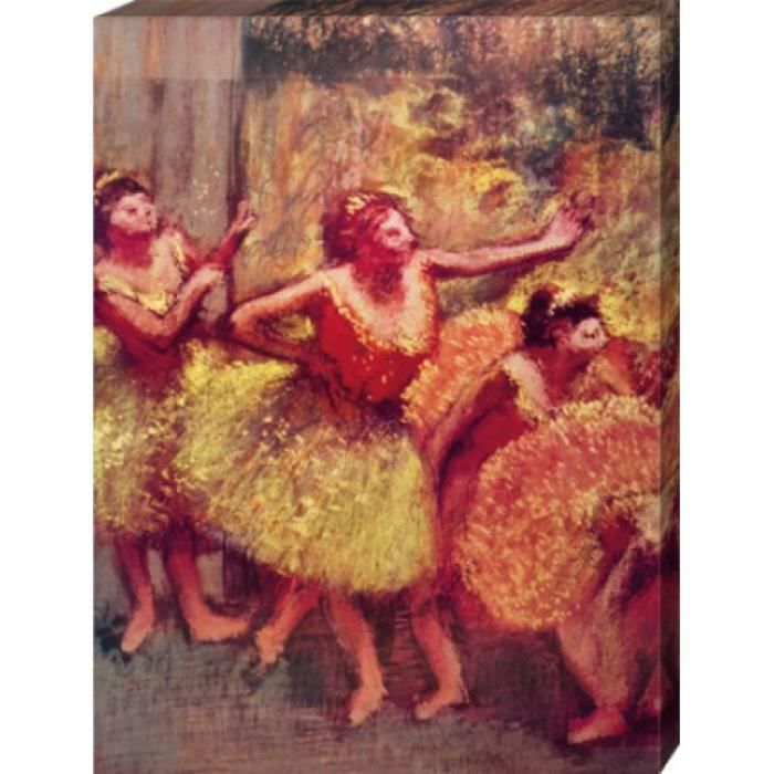 edgar degas poster reproduction sur toile tendue sur ch ssis danseuses en jaune et rose 1890. Black Bedroom Furniture Sets. Home Design Ideas