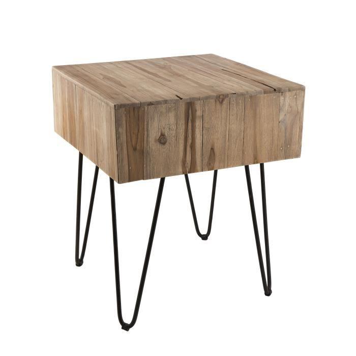 Table d'appoint carrée ethnique en bois teck massif naturel - Pieds épingles scandi en métal - L 50 x l 50 cm