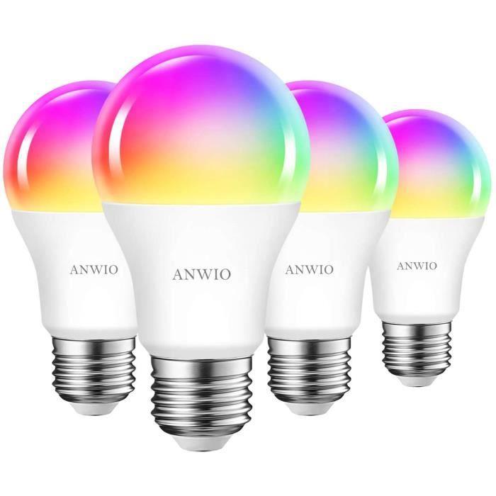 ANWIO 8.5W Ampoule LED WiFi Intelligente E27 Dimmable et multicolore, Tuya App Et Smart Life, RGB Ampoule A60, Pas de Hub requis225