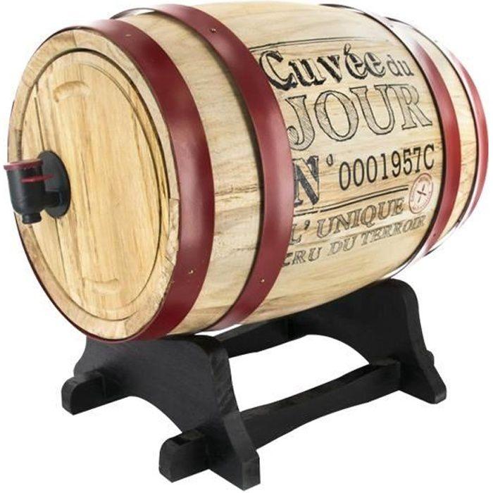 Tonneau en bois pour la distribution de vin en bois 3 litres * Dimensions : 27 x 21 x 26 cm * Matière : bois * Contenance : 3