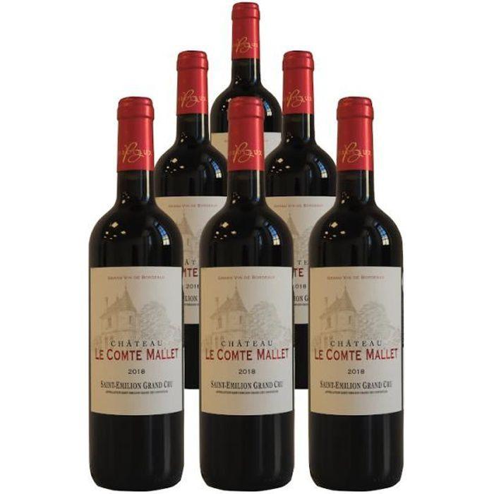 Chateau Le Comte Mallet Saint Emilion Grand Cru 2018 - Pack de 6 bouteilles - Vin rouge de Saint Emilion