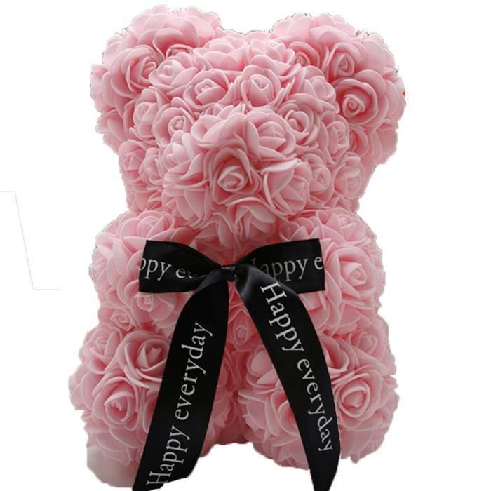 Livraison directe ours en peluche Rose fleur 25cm savon artificiel mousse ours de Roses nouvel an cadeaux pour les - pink