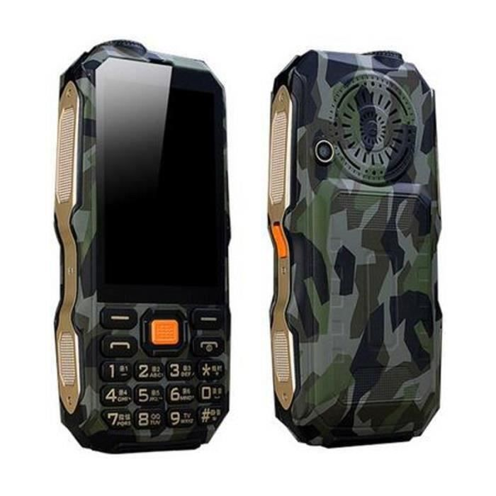 Téléphone Robuste, extérieur, téléphone Portable, 9800mAh Batterie 3 Pouces Ecran Digitales Vert