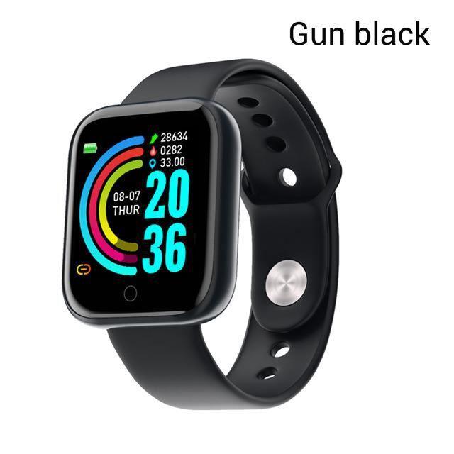 Y68 Smart Watch Étanche Bluetooth Sport SmartWatch Support pour iPhone Xiaomi Fitness Tracker Moniteur de Fréquence Noir de pistolet
