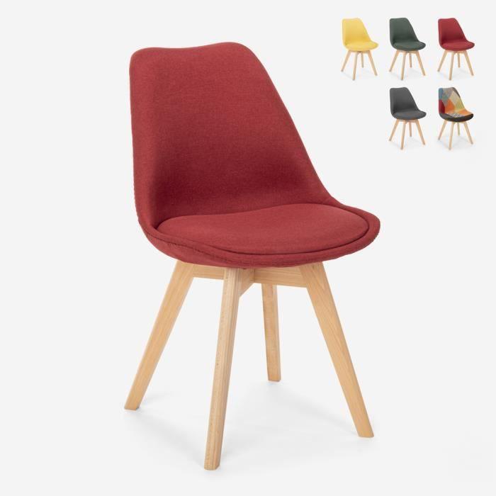 Chaise design nordique en bois et tissu et coussin restaurant bar cuisine Dolphin, Couleur: Rouge