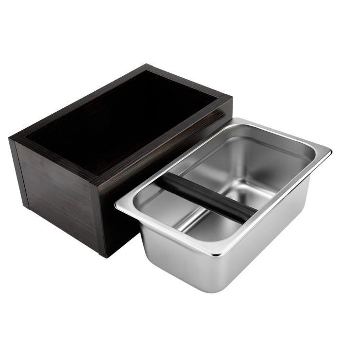 Boîte de seau de récipient moulu de café d'acier inoxydable avec la base en bois pour l'usage de café,1 * boîte à café -SHW