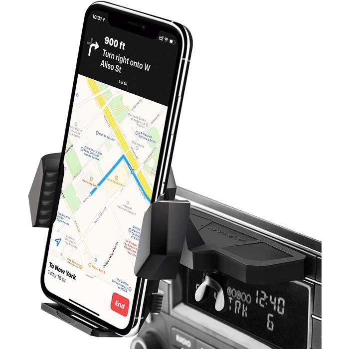 VEHICULE POUR SMARTPHONE Porte Tablette Sur Lecteur CD Auto, Con&ccedilu Pour Fonctionner D'une Seule Main, Support Voiture Tel202
