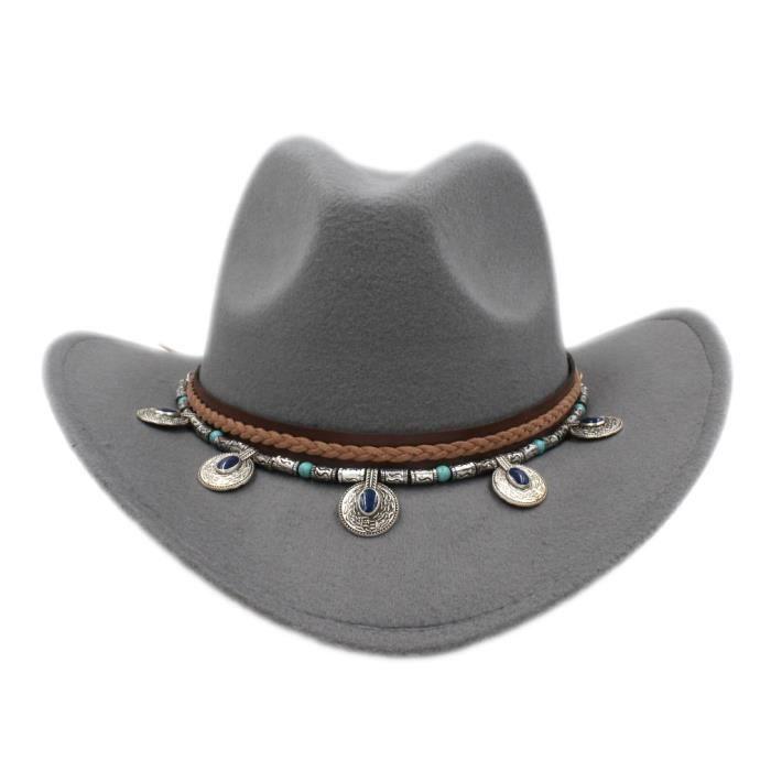 Mistdawn – chapeau de Cowboy pour hommes et femmes, casquette à large bord, style rétro occidental, Gris