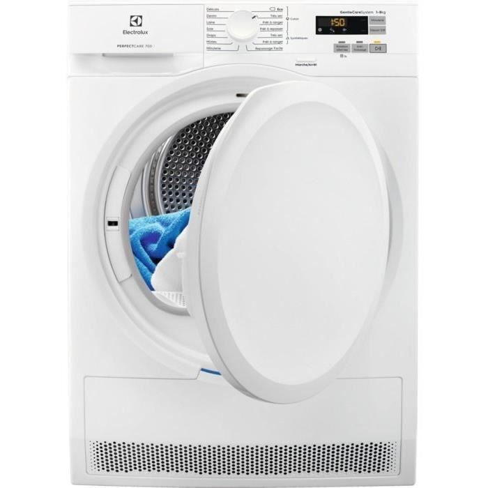 Sèche-linge pompe à chaleur ELECTROLUX EW7H6812SC - 8 kg - Classe A++ - Blanc