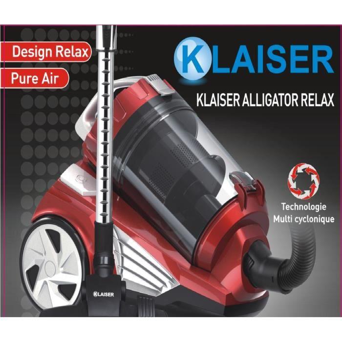 KLAISER- Puissance 1400W-Alligator Relax Aspirateur Sans Sac Multi Cyclone Ultra Confort Silence-Efficacité énergétique A-Sol dur A