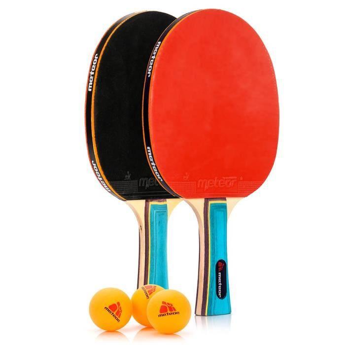 Ensemble de raquettes de Ping Pong - meteor Zephyr - Professionnel 2 Raquettes de Tennis de Table + 3 Balles de Ping-Pong