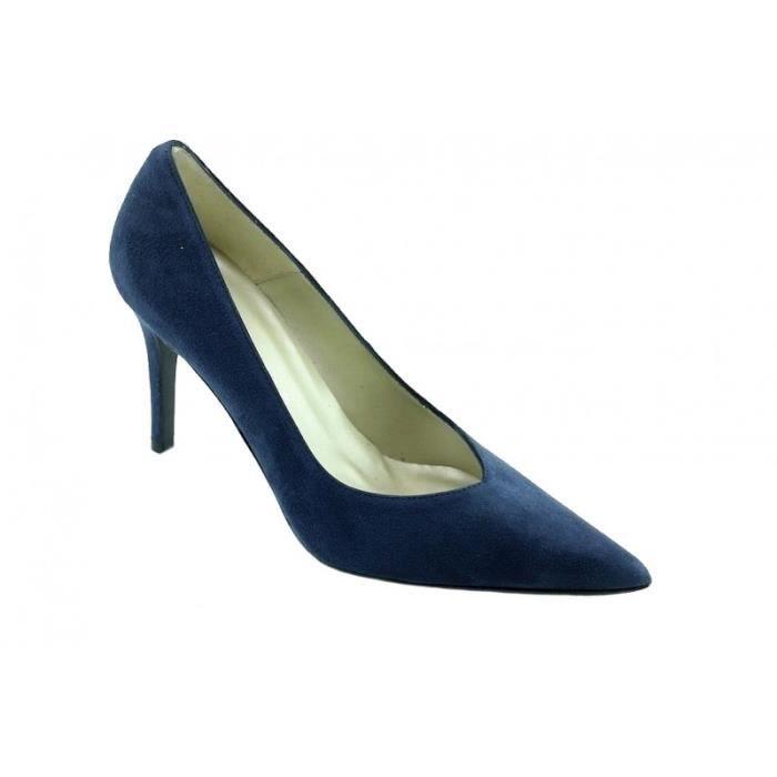 Pacome - Chaussures femme escarpins bout pointu talon haut aiguille marques Angelina cuir daim bleu marine