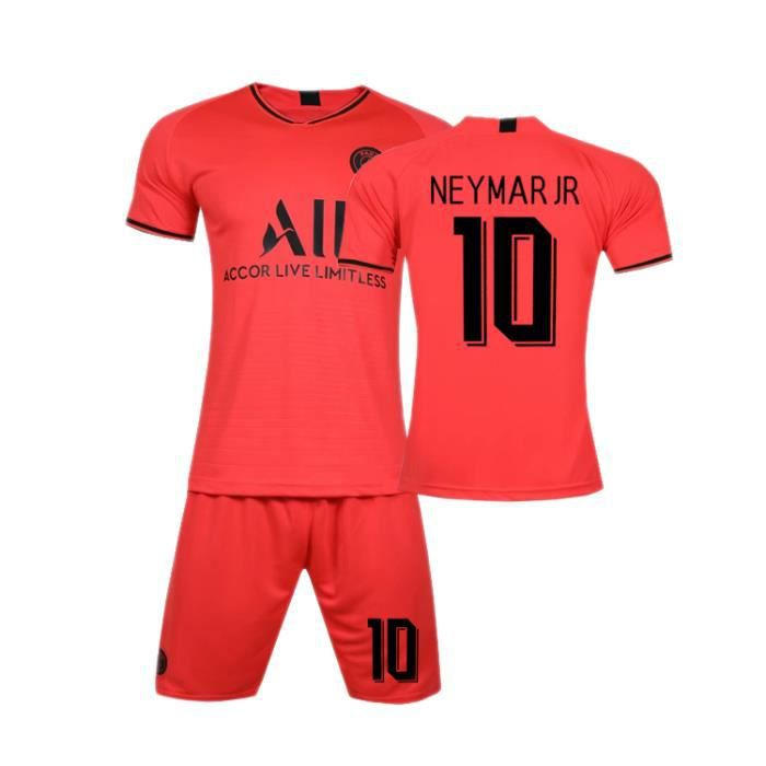 Championnat d'Europe Paris 19-20 NEYMAR JR NO.10 Jersey Maillot et Shorts de football Homme-Enfant -Rouge