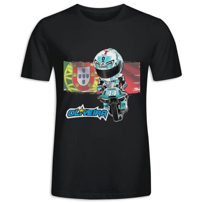 Tee Shirt avec imprimé en Moto2 Miguel Oliveira Leopard Racing Manche Courte T-shirt Homme