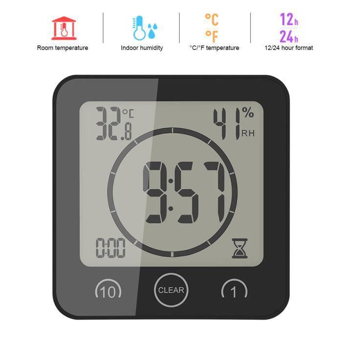 Portable LCD Numérique Thermomètre Hygromètre Horloge Tactile Timer Alarme pour Salle de Bains Cuisine