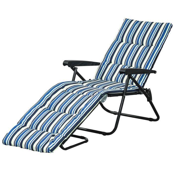 Bain de soleil pliable transat inclinable 6 positions grand confort avec matelas + accoudoirs acier polyester multicolore