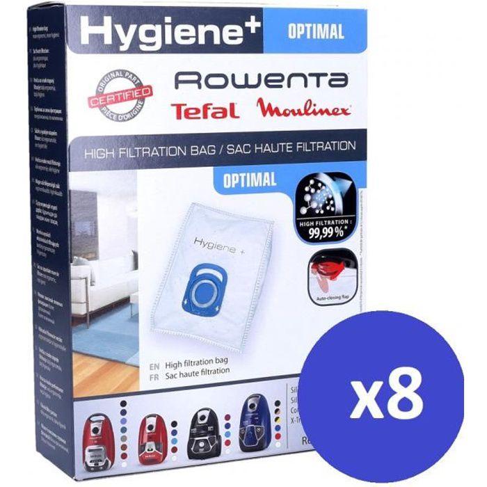 Pack de 8 sacs Haute Filtration Hygiène+ pour ROWENTA Silence Force / X-trem Power