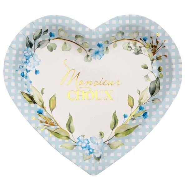 Assiette coeur Baby Shower bleu ciel avec des fleurs décoratives (x10) REF/7309 Matière carton