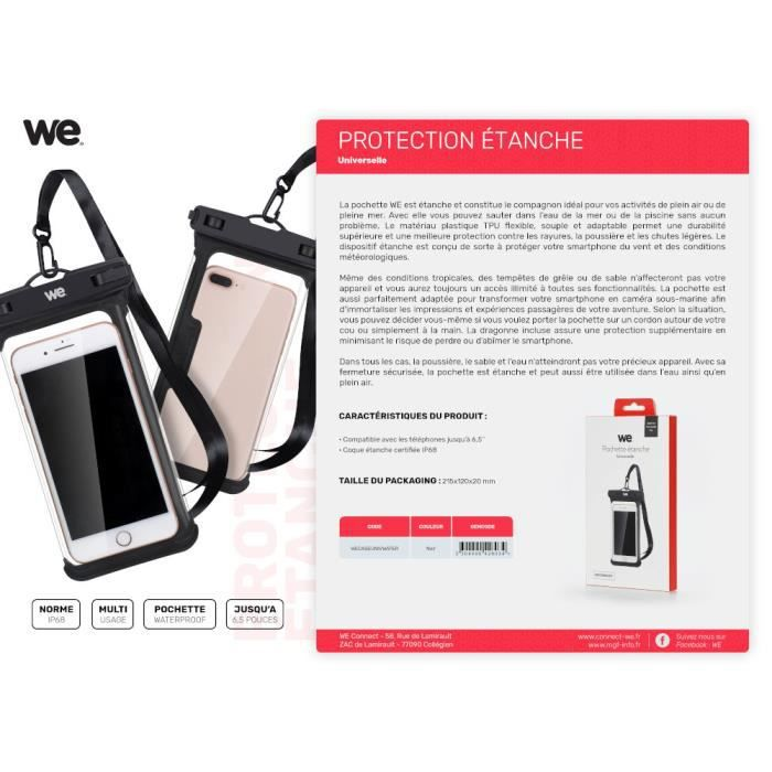 WE Pochette Etanche Universelle IP68 - WATERPROOF - Sacoche pour Smartphone iPhone 11, 11 Pro, XS Max, XR, XS, X, 7 8 Plus, 6S,