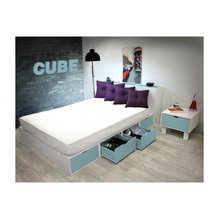 lit cube blanc tiroirs couleur achat vente structure de lit cdiscount. Black Bedroom Furniture Sets. Home Design Ideas