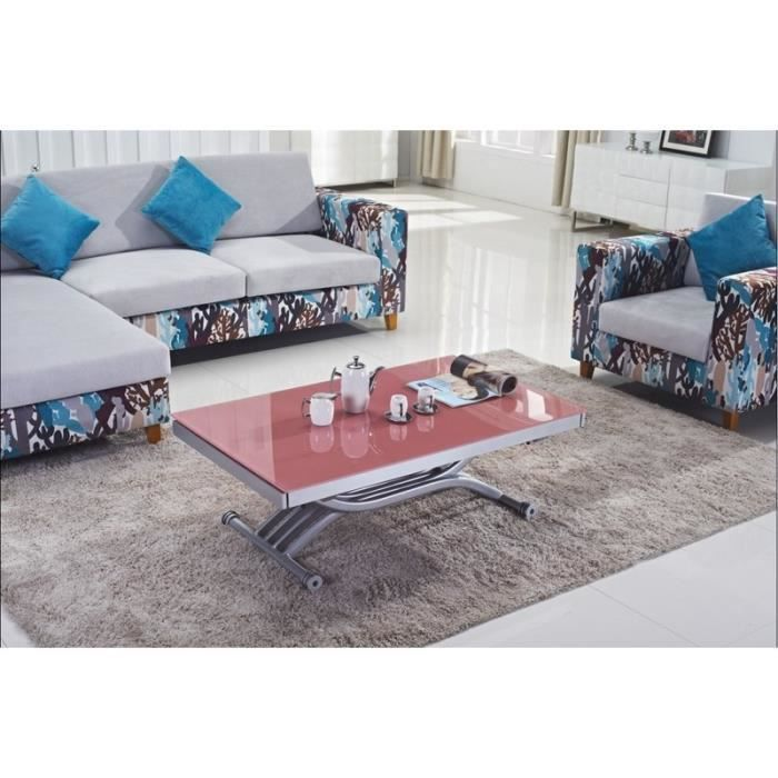 Table basse rose relevable et extensible design achat - Table basse rose ...