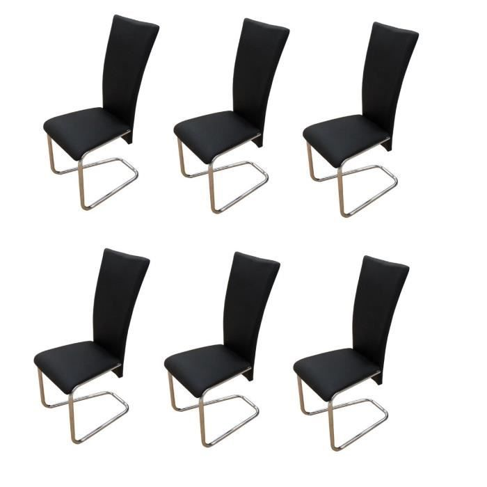 6 chaises ultra design noires salon salle manger achat vente chaise simili m tal les. Black Bedroom Furniture Sets. Home Design Ideas