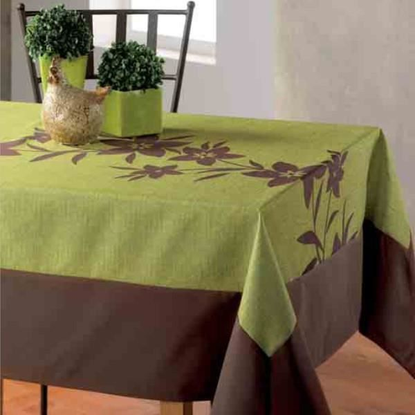 nappe litchi vert et chocolat 3m 1m50 anti tach achat vente nappe de table soldes d t. Black Bedroom Furniture Sets. Home Design Ideas