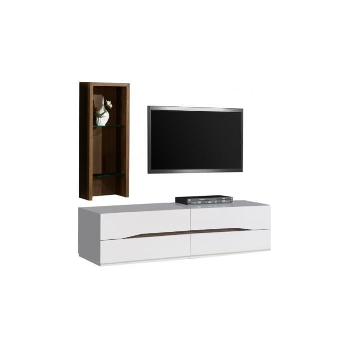 Composition design meuble tv tag re noyer achat vente - Meuble etagere design ...