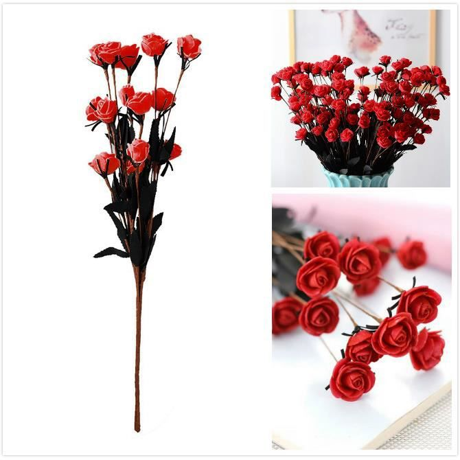 Bouquet De Roses Rouges Artificielles-50cm