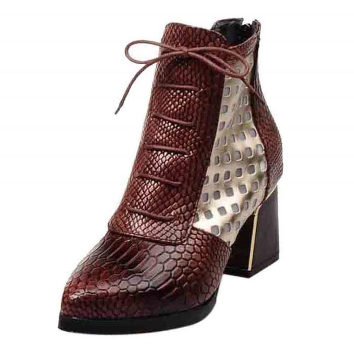Bottes Cuir Femme,2018 Chaussures Ville Automne Hiver Boots Bottines à Talons Moyens Hauts avec Semelle Confortable Design Original