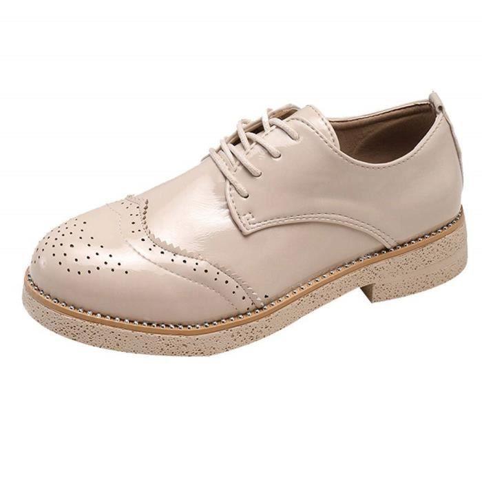 Chaussures Nouveau Courtes à Britannique Lacets en Plat Chaussures Femmes Cheville Style Automne Cuir Bottes FemmeMode Hiver OPnwk0