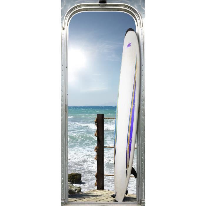 STICKERS Sticker Adhésif de porte Ondoor - Waikiki beach -