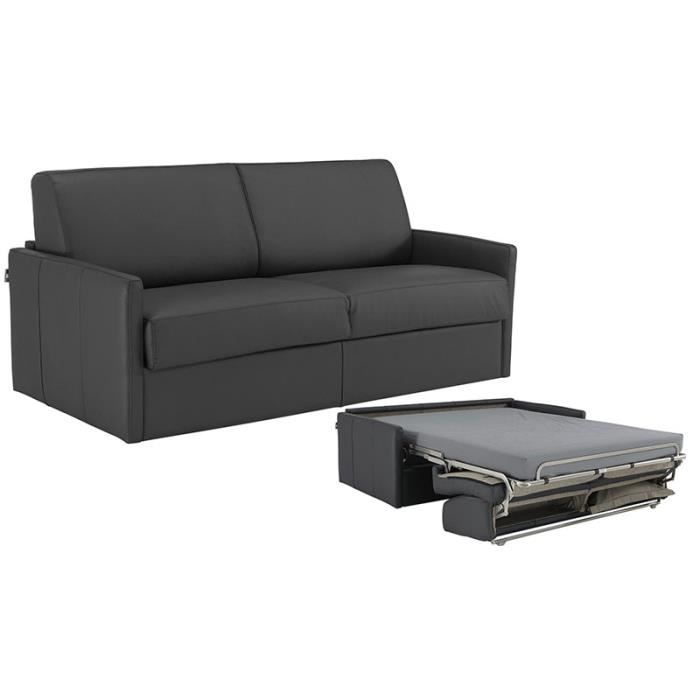 canap convertible star cuir recycl gris 120x190 achat vente canap sofa divan cuir. Black Bedroom Furniture Sets. Home Design Ideas