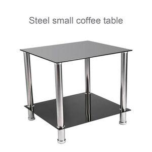 TABLE BASSE Table en verre noir et pieds chromés en Acier Inox