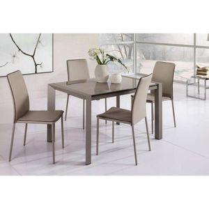 TABLE À MANGER SEULE Table à rallonge AXEL avec plateau en verre satiné