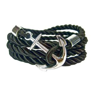 Trixes Unisexe Super Mode Cuir Noir Bracelet Bande Bras Métal Ancre Étiquette