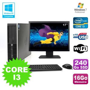 UNITÉ CENTRALE + ÉCRAN Lot PC HP Elite 8200 SFF Core I3 3.1GHz 16Go 240Go
