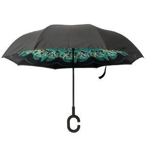 Parapluie de voiture double couche invers/é Parapluie de voyage coupe-vent et r/ésistant aux UV avec poign/ée en forme de C Parapluie invers/é pliant Dragon Flame