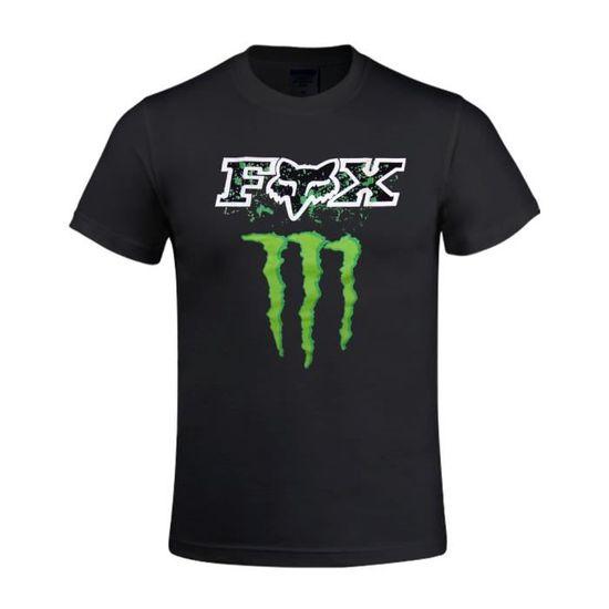 Tee-shirt Homme monster energy fox logo Manches