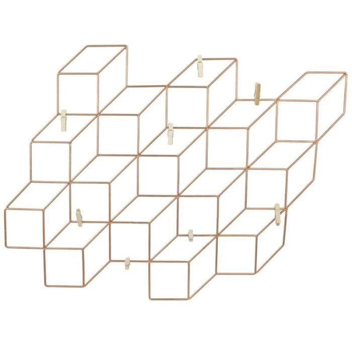 Pêle-mêle cube effet 3D - 8 pinces - Cuivré 40 cm