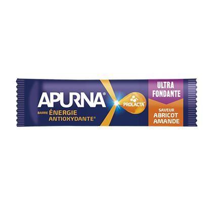 Apurna Barre Energie Antioxydante 25g. Parfum abricot/amande. Vendu à l'unité.
