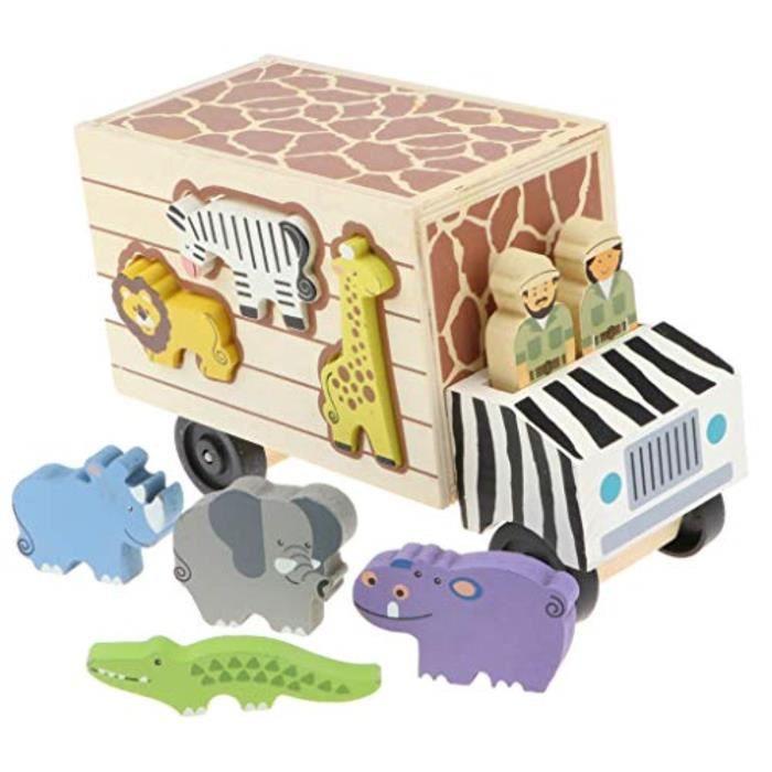Jeu D'Assemblage EGFKY modèle de véhicule de camion en bois avec des blocs de construction animaux forme correspondant cadeau jouet