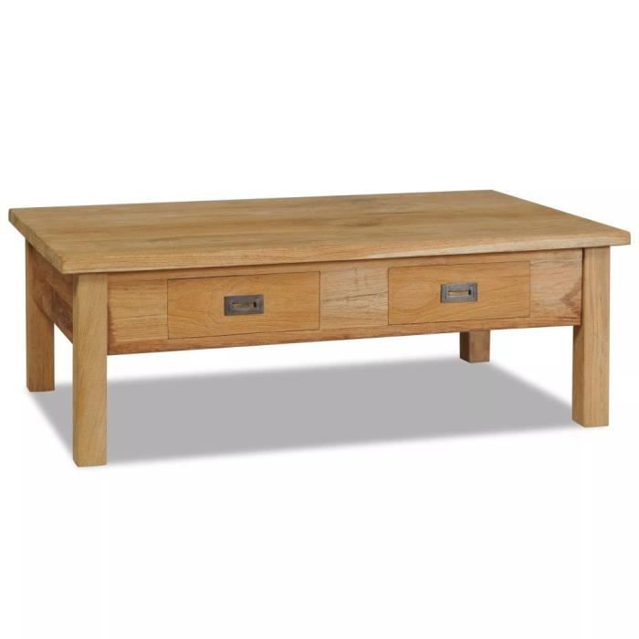 UNA Table basse Teck massif 100 x 60 x 35 cm