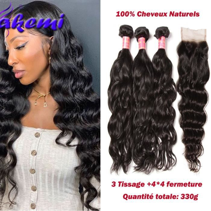 LOT 3 Tissage Péruviens Natural Wave Avec Closure Cheveux Humains (14-16-18-+12-closure)