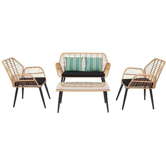 Salon de jardin rotin & acier noir 4 places Ensemble de meubles de patio